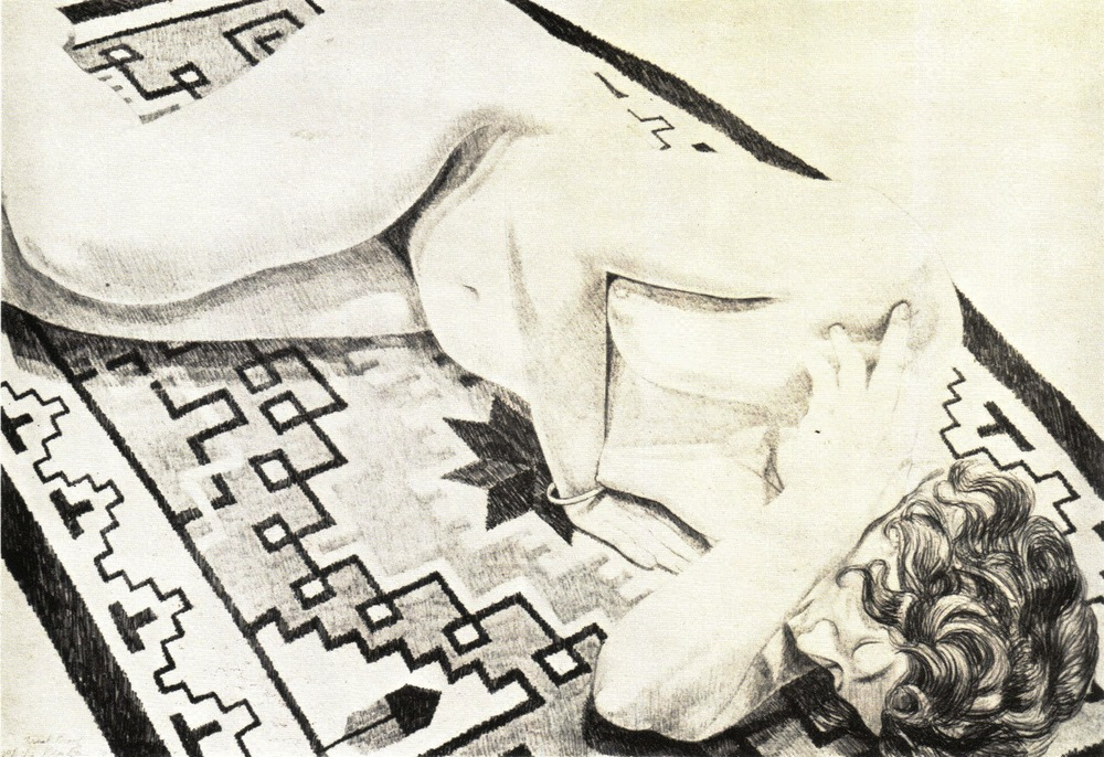 1973, Model on Grey Patterned Rug, Lithograph, 57.2 x 82.5 cm.jpg