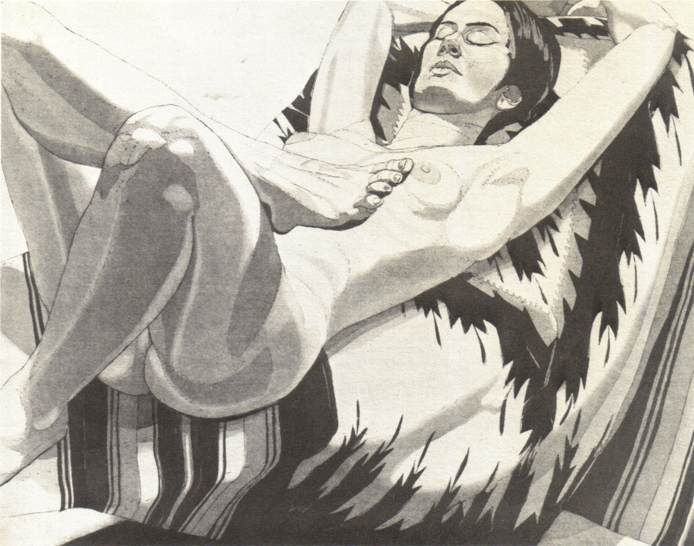 1972, Nude on Mexican Blanket, 46.3x70 cm, color aquatint-line etching.jpg