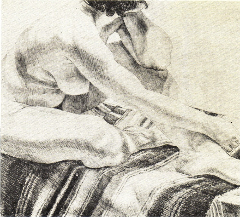 1972, Girl on Striped Rug,  Lithograph, 53.3x61 cm.jpg