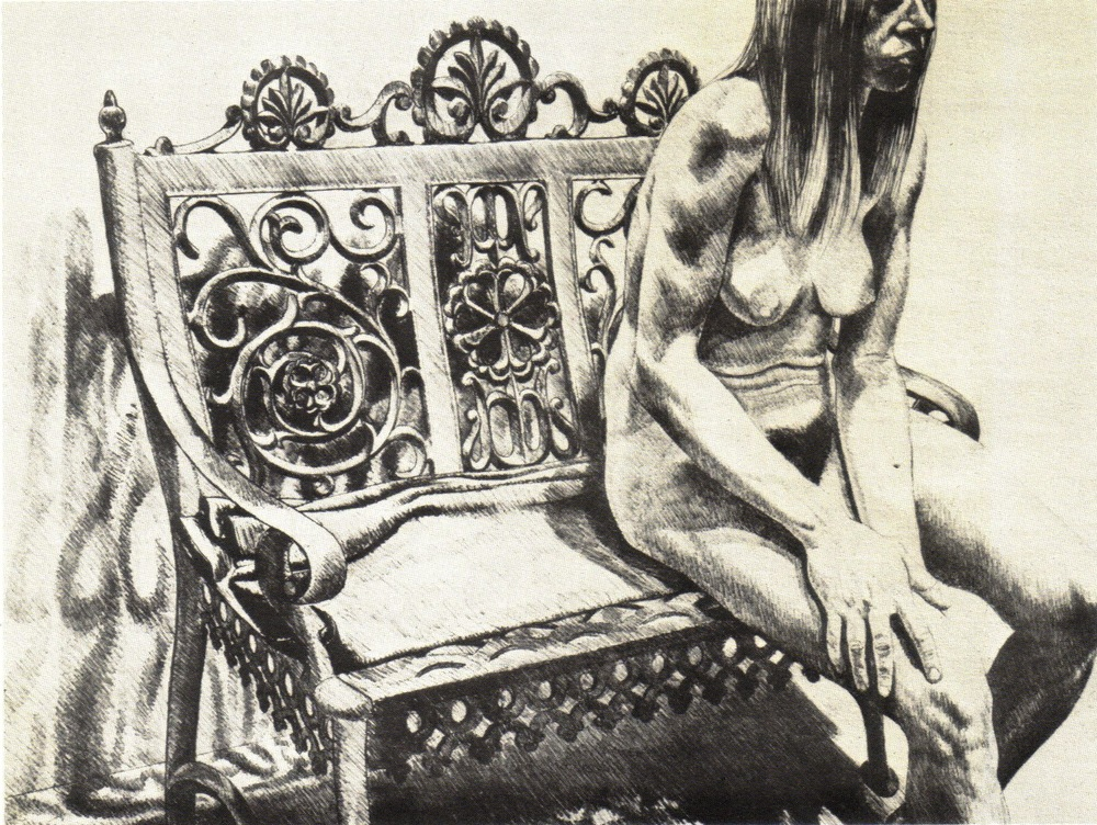 1972, Girl on Iron Bench, Lithograph, 61x81.9 cm.jpg