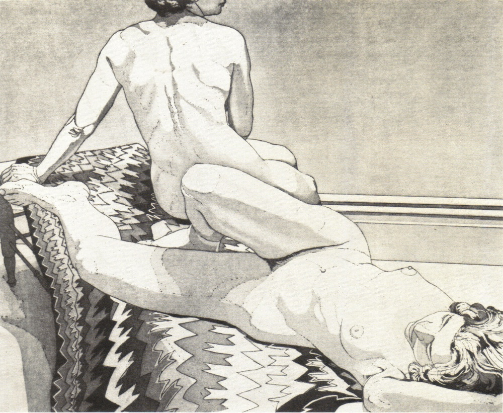 1971, Two Nudes on Old Indian Rug, aquatint-line etching, 9.375x10.75, 1971.jpg
