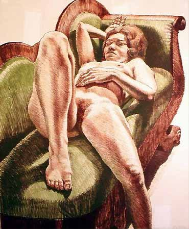 1971, Reclining Nude on Green Couch, 1971.jpg