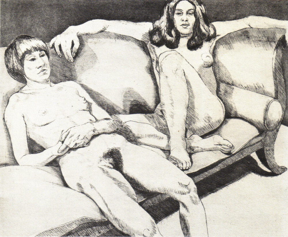 1971, Two Models on Couch, 45x55 cm, aquatint-line etching, PPS024.jpg