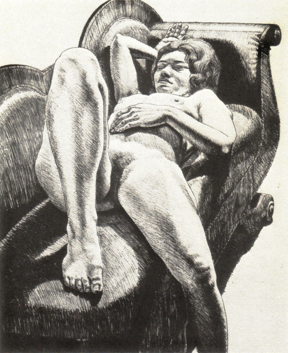1971, Reclining Nude on Green Couch, 1971, Lithograph, 68.6x55.9 cm.jpg