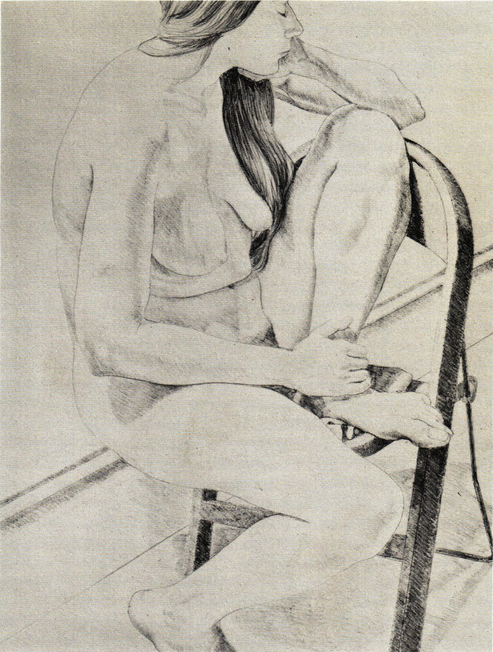 1970, Figure on Folding Chair, Lithograph, 76.2x55.9 cm.jpg