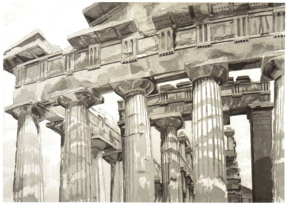 1983, Temple at Paestum, Etching, 28.5x40.25 in.jpg