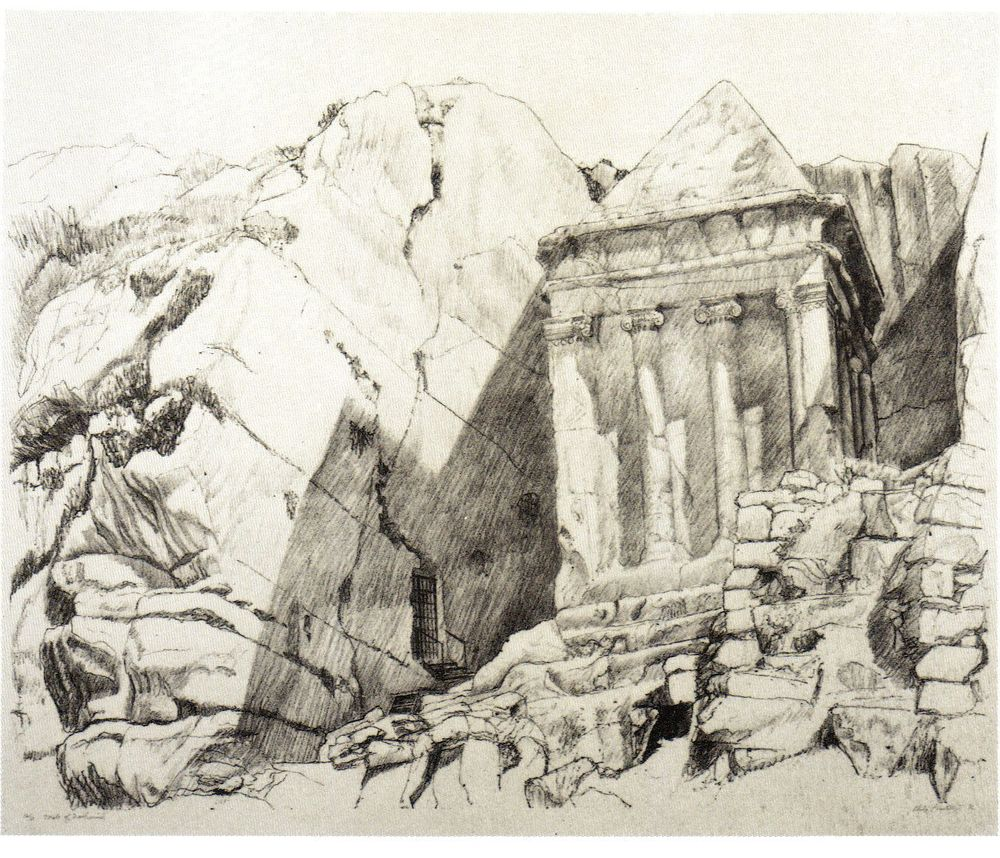 1986, Tomb of Zachariah, Lithograph, 29x36.5.jpg