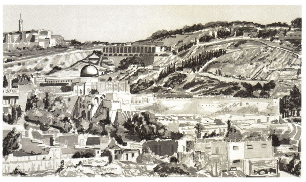 1987-88, Jerusalem, Temple Mount, Woodcut, 18.625x27.jpg