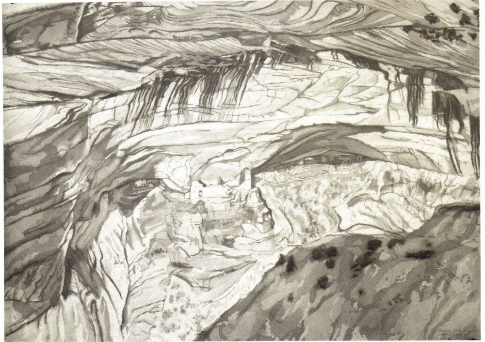 1994, Canyon de Chelly Ruins, Etching, 32.5x45 in 1994.jpg