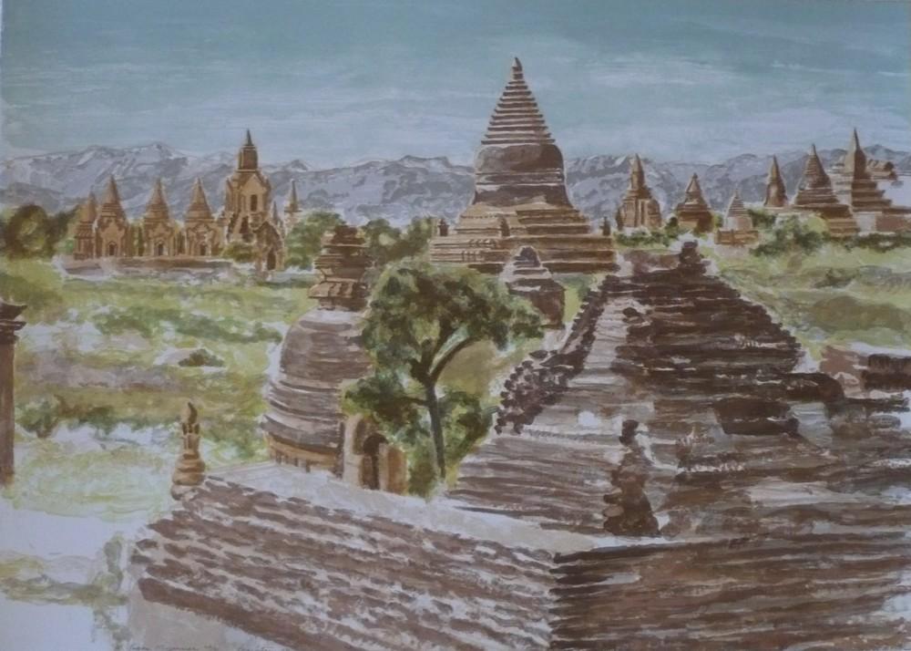 1997, Pagan, Mayanmar, Lithograph, 23.75x29 in.JPG
