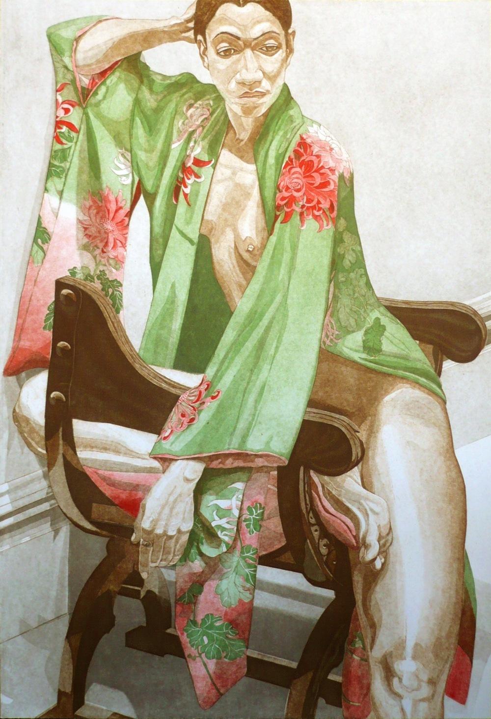 Model in Green Kimono , 1979 Aquatint 40.25 x 27.125 in