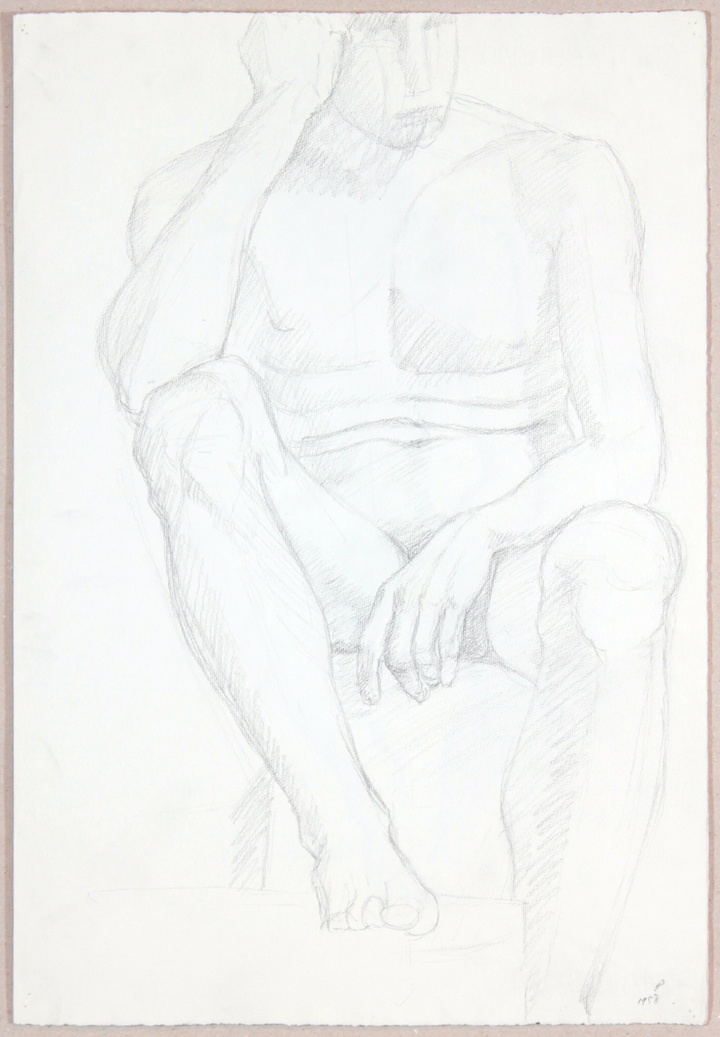 Male Nude Resting Head on Hand  (Page Behind), 1958 Graphite 18.875 x 12.875 in