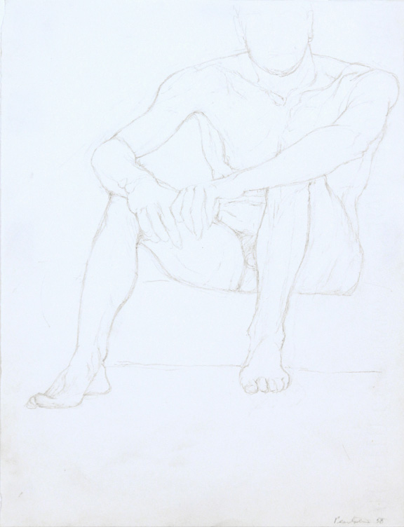 Seated Male Model #2 , 1958 Pencil 13 x 9 in