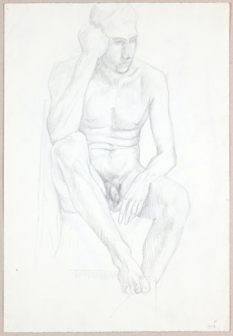 Male Nude Resting Head on Hand  (Front Page), 1958 Graphite 18.875 x 13 in