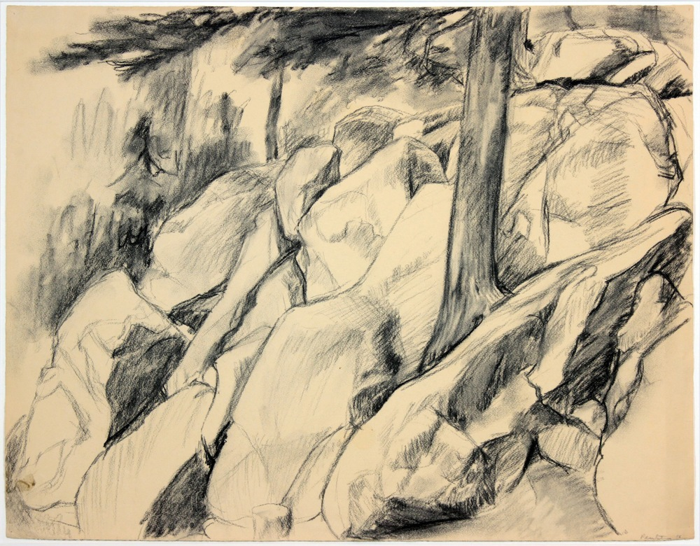 Untitled (Rock Landscape) , 1956 Charcoal 24.75 x 19.25 in