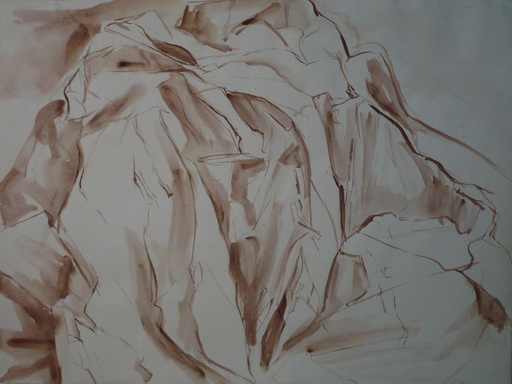 Montauk Rocks #2 , 1955 Sepia Wash 18 x 24