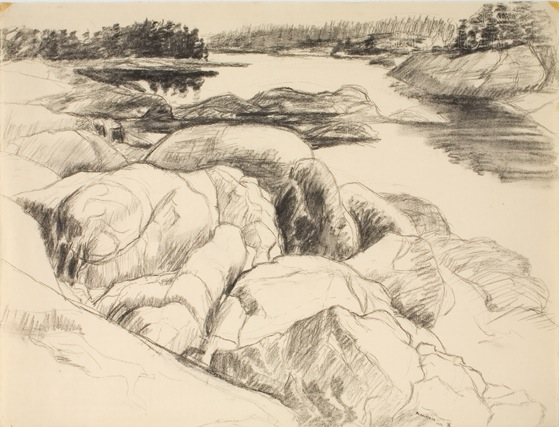 Drawing for Tidal Inlet , 1956 Charcoal 18.875 x 24.75