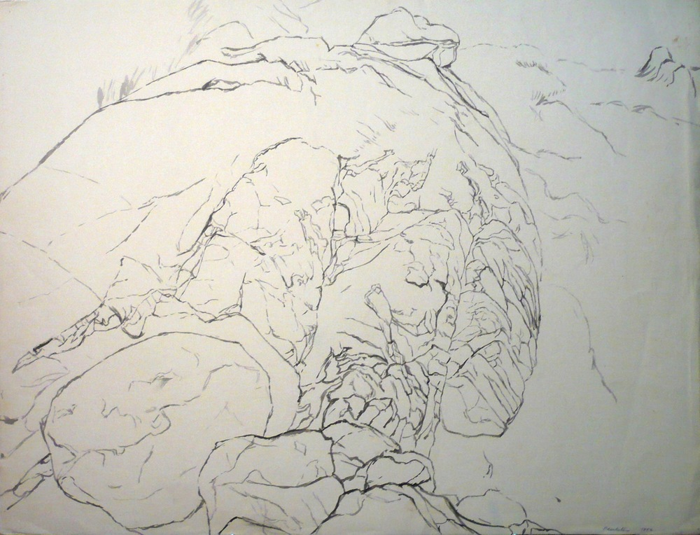 Study for Blue Rocks , 1956 Ink 18.75 x 24.75 in