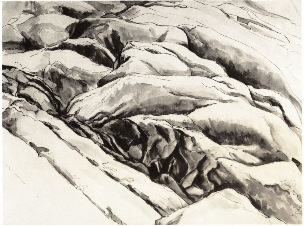 Ridged Rock , 1956 Ink wash on paper 18.75 x 24.75 in