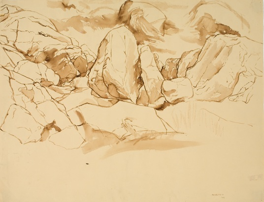 Study for Oil Painting: Glacier Scraped , 1956 Sepia wash 19.125 x 24.75