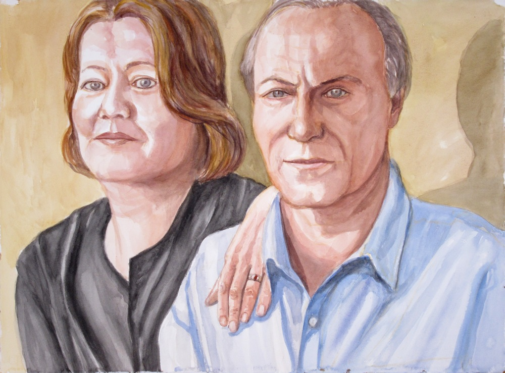 Sandra Amann and Michael Pashby , 2011 Watercolor 22.5 x 30.125 in