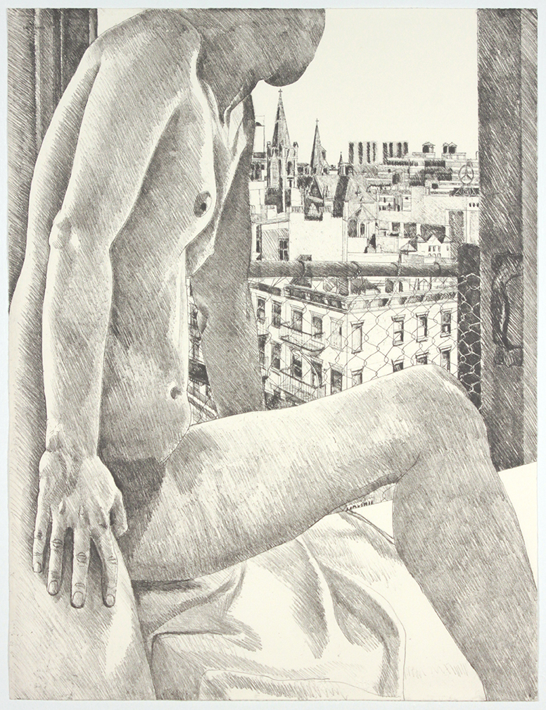 Model & View of 9th Avenue , 1985  Etching, Aquatint  30 x 22.5 in