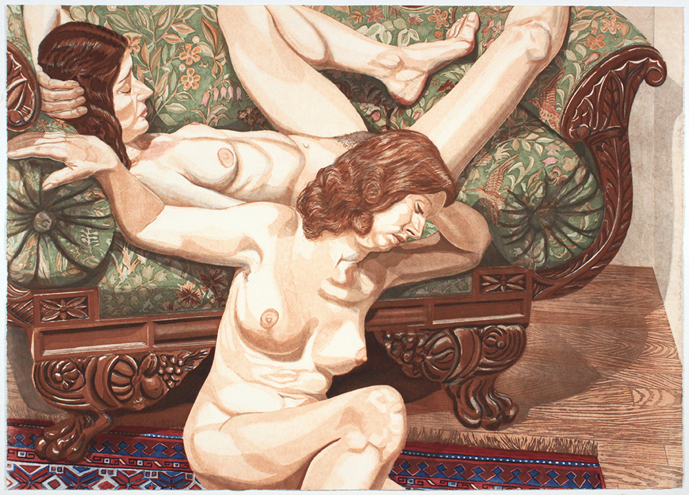 Two Nudes with Federal Sofa , 1981 Etching, Aquatint 29 x 40.25 in