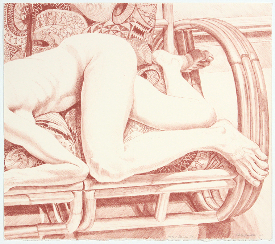 Nude on Bamboo Sofa , 1981 Lithograph 21 x 24 in