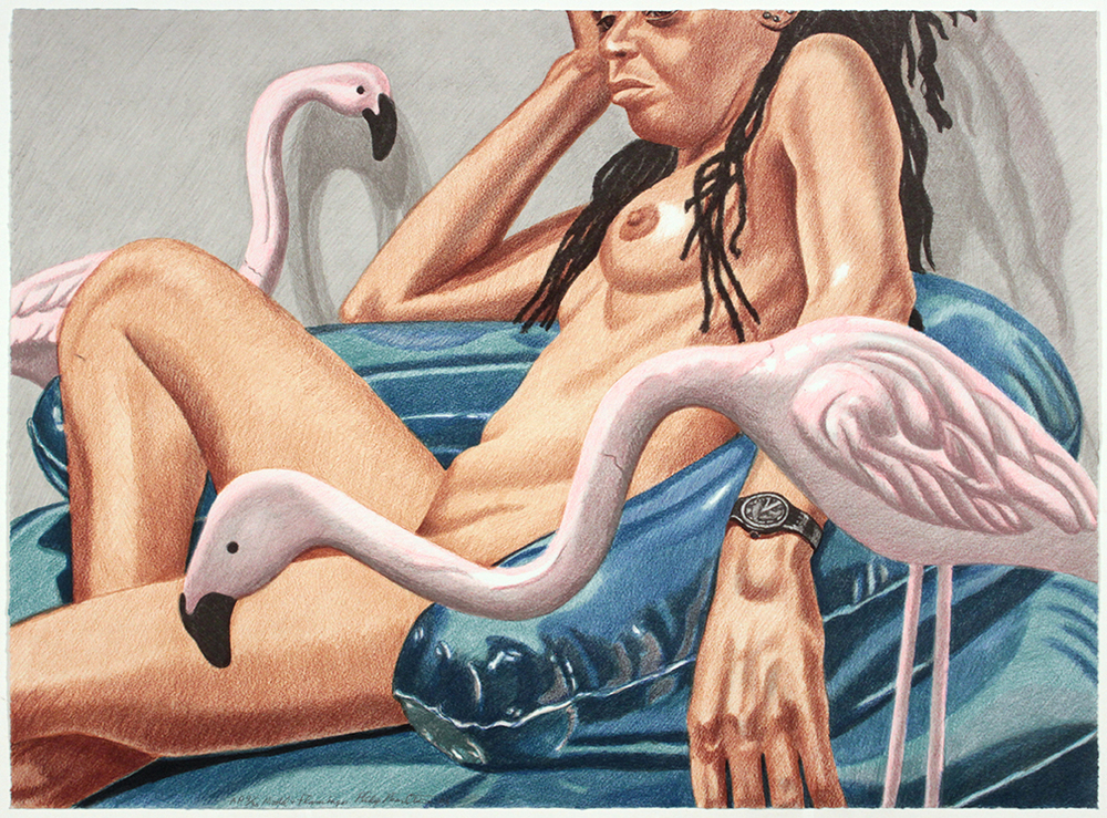 Model with Flamingo , 2006 Lithograph 21.875 x 29.75 in