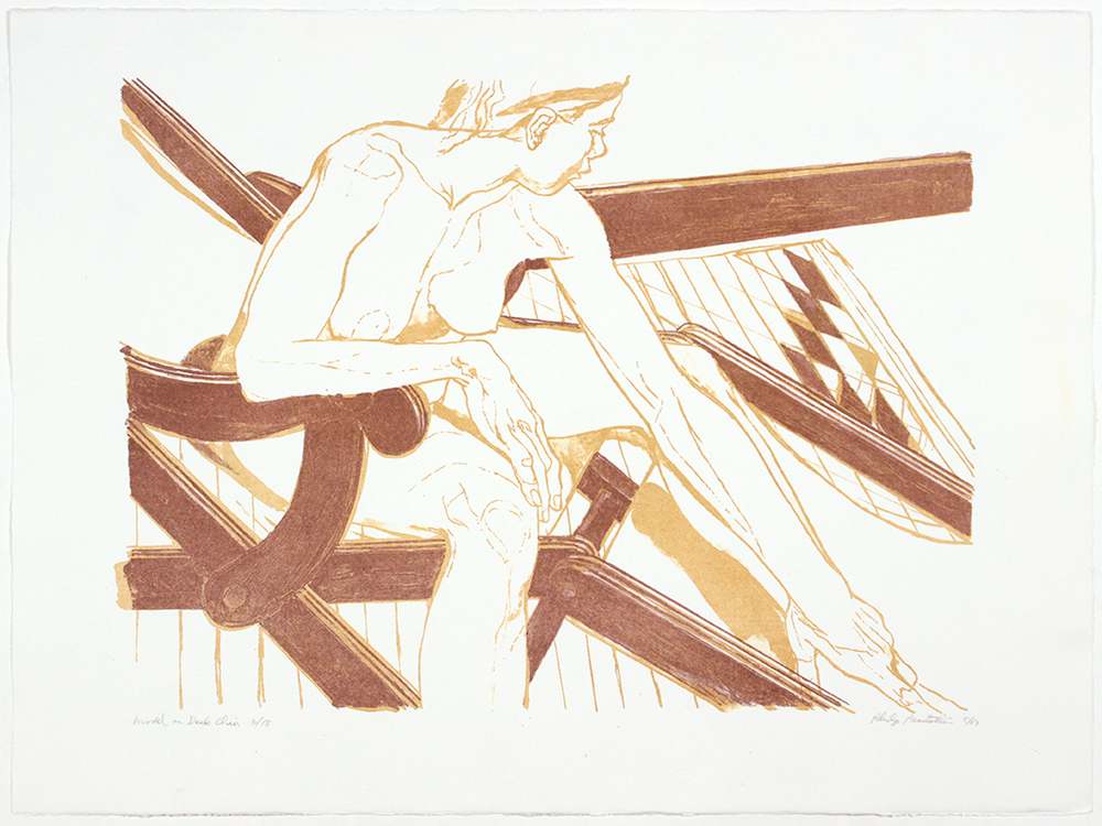Model on Deck Chair , 2003 Lithograph 22.25 x 30 in