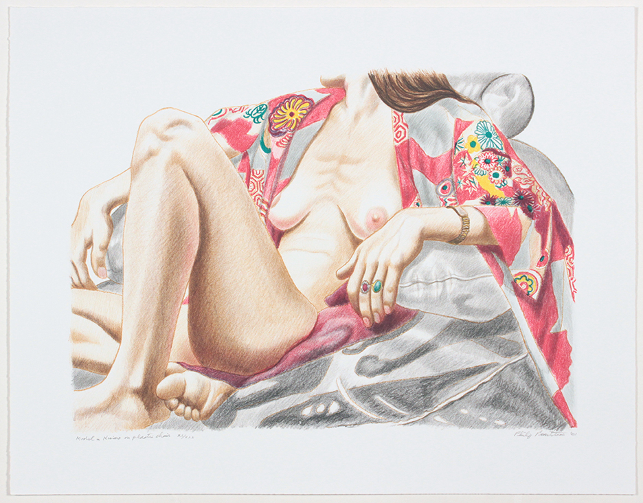 Model in Kimono on Plastic Chair , 2001 Lithograph 19.5 x 25 in