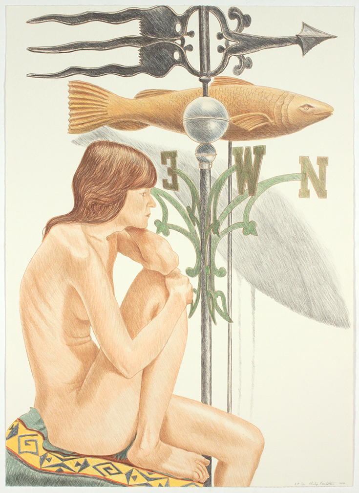 Nude Model with Banner and Fish Weathervane , 2010 Lithograph 34.5 x 25 in
