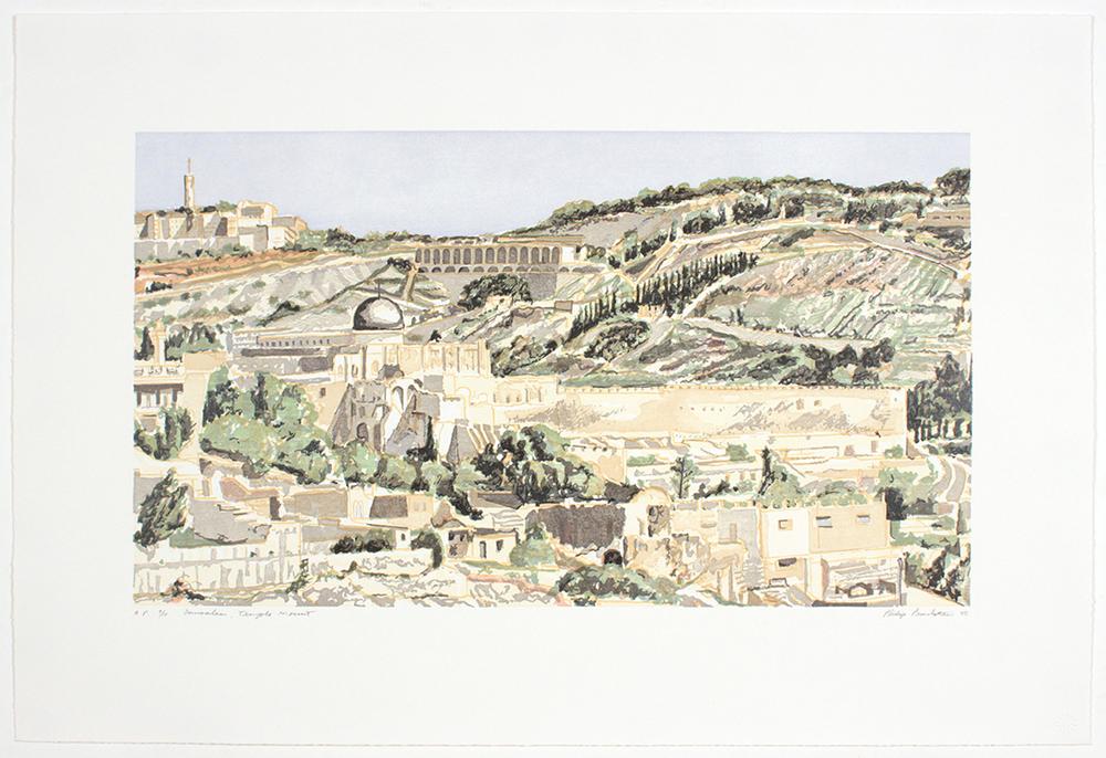 Jerusalem , 1987-88 Temple Mount, Woodcut 18.5 x 26.875 in