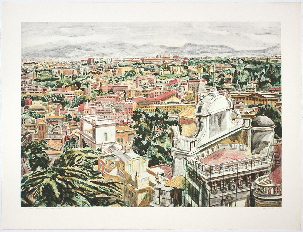 VIEW OF ROME , 1986 Etching, aquatint and roulette on paper 35 x 47 inches