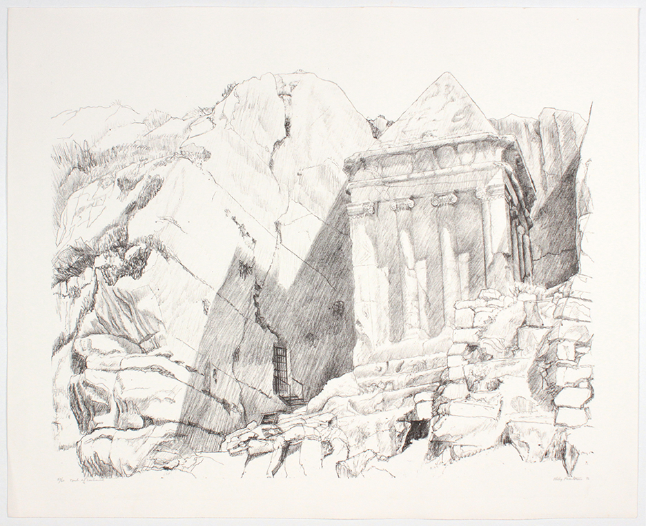 Tomb of Zacharia , 1986 Lithograph 29 x 36.5