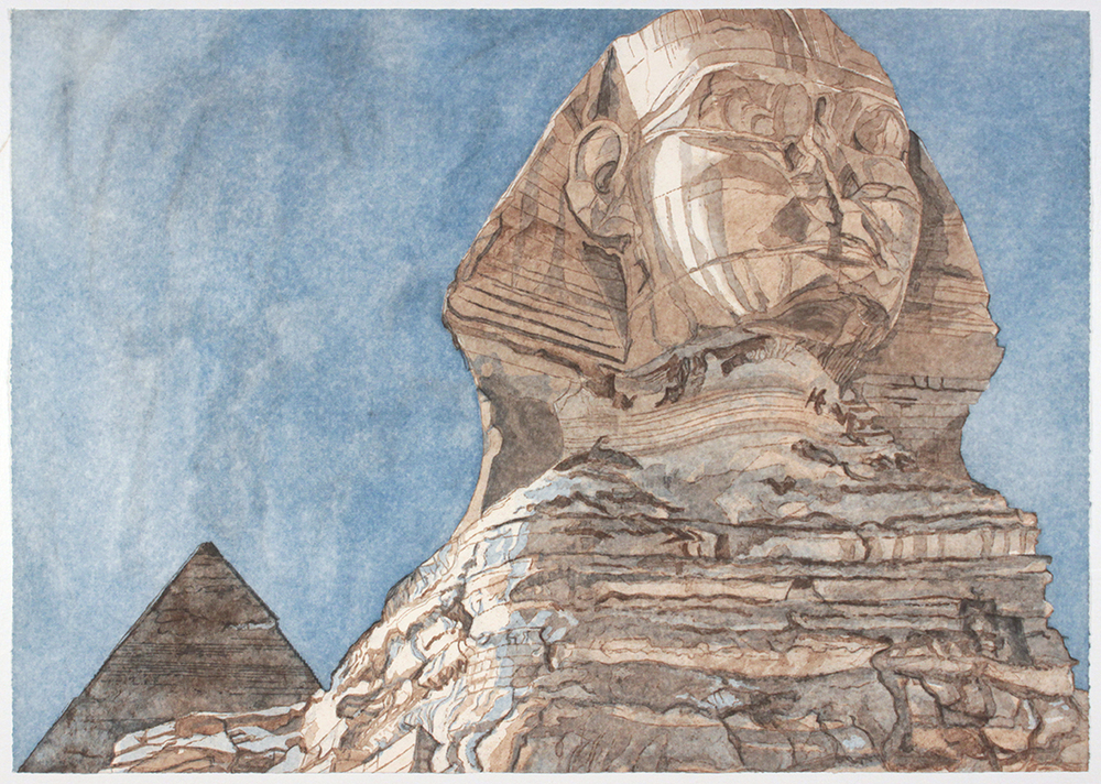 The Sphinx , 1979 Aquatint, sugar lift with roulette work 28.5 x 40.125 in