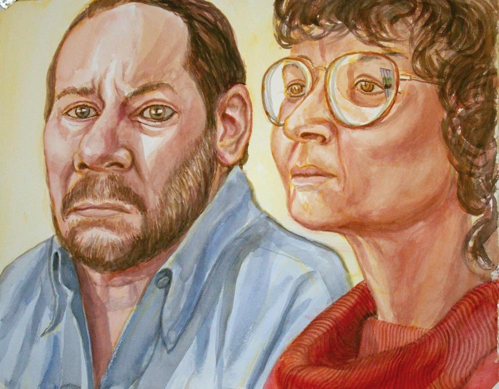 Agatha and Chris Wyman , 2009 Watercolor