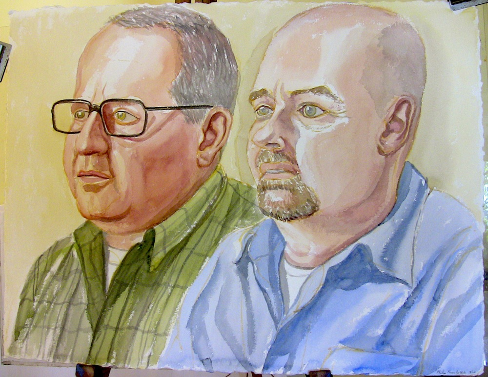 Tom Dolle and George Waffle , 2008 Watercolor
