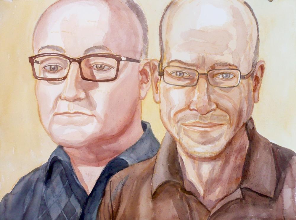 Ira Helf and John Knoebel , 2008 Watercolor