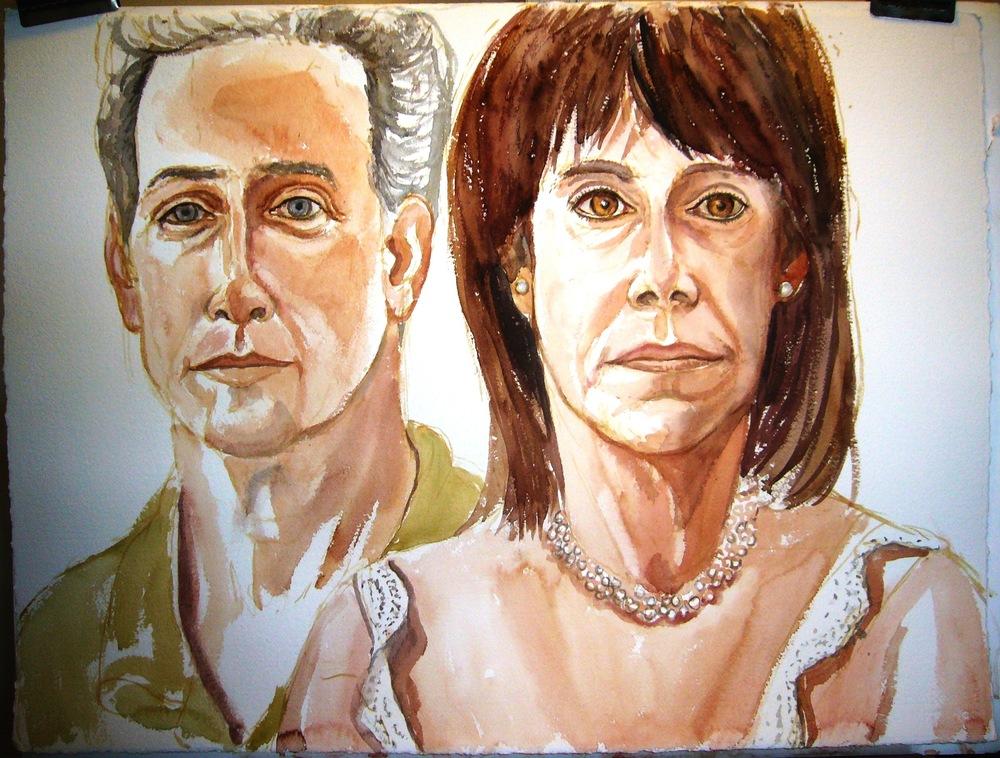 Mr & Mrs Dr. Jeffery Graf ,2006 Watercolor