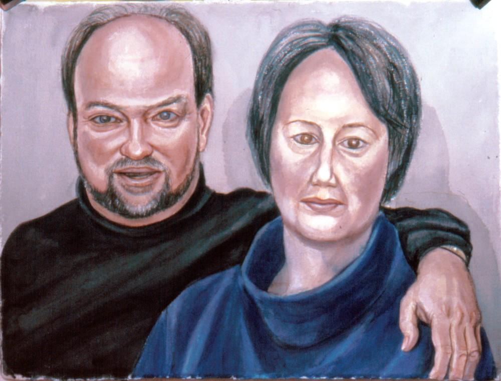 John and Pam Harding , 2002 Watercolor