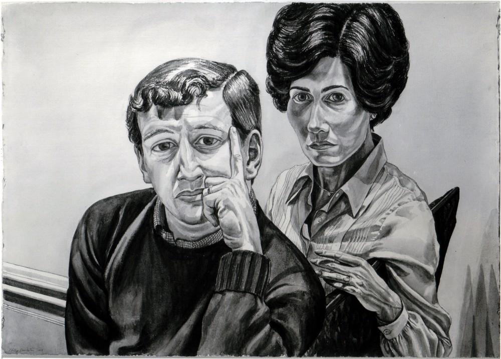 1978, Portrait of Mr. & Mrs. Fred Nachman, Sepia wash, 29.5x40.5, 1978.jpg