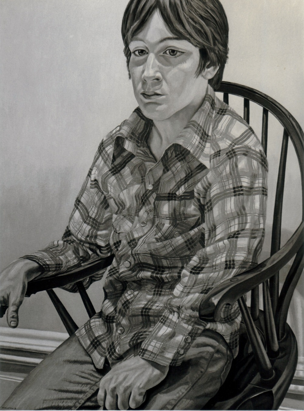 Steven Melzer , 1981 (B & W image of color painting) Oil on canvas 40 x 24 in