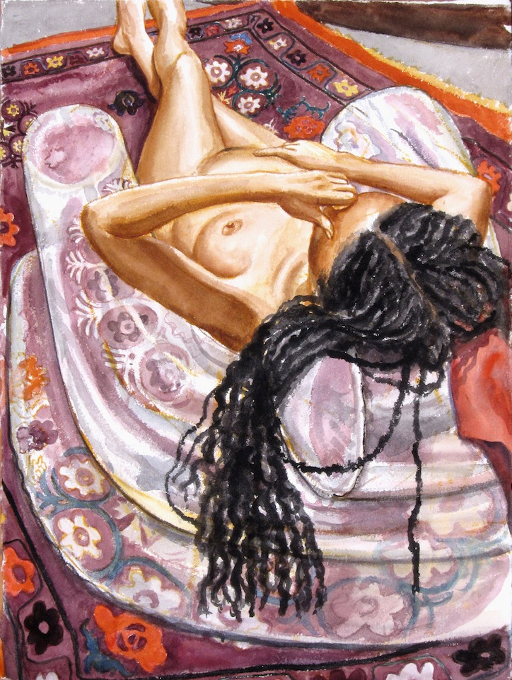 Model with Dreadlocks on Inflatable Chair , 2011 Watercolor 30 x 22.5 in