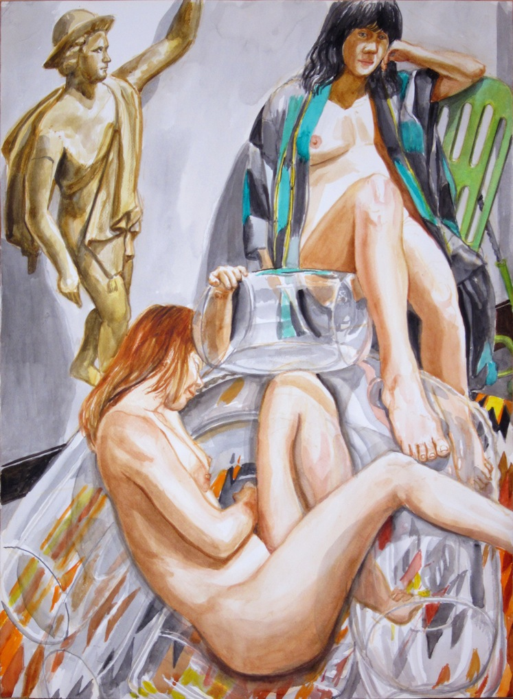 Two Models with Bubble Chair and Mercury , 2011 Watercolor 29.875 x 22 in