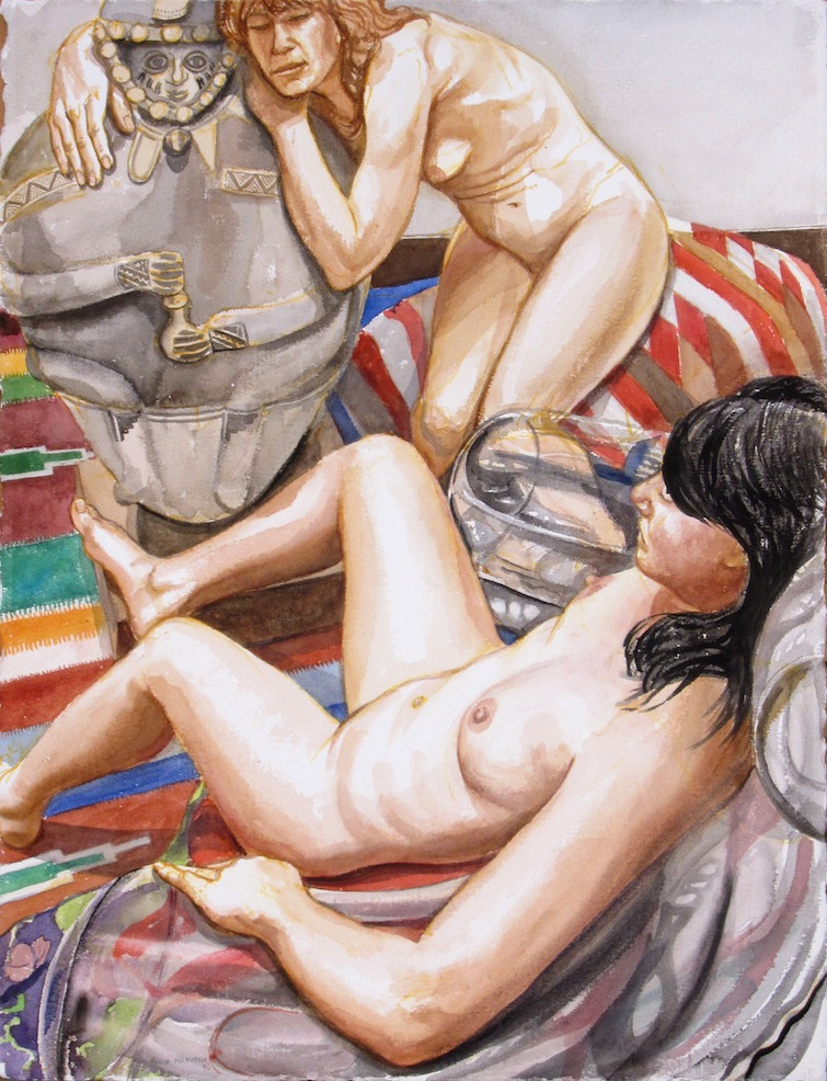 Two Models with Peruvian Medicine Man (study 1) , 2011 Watercolor 30 x 22.75 in