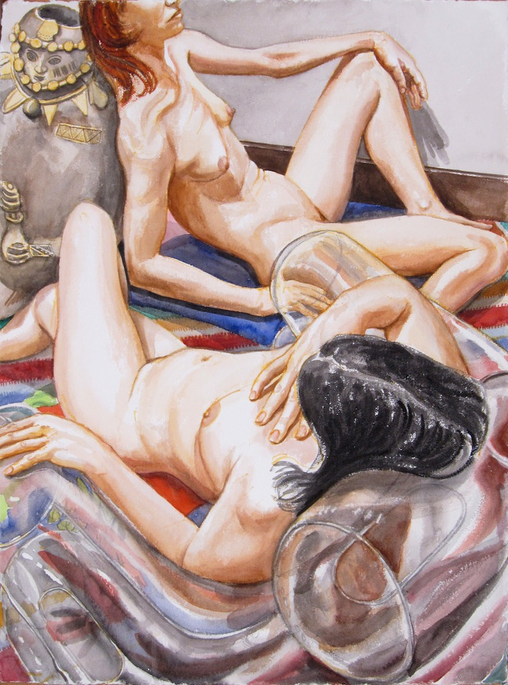 Two Models with Peruvian Medicine Man (study 2) , 2011 Watercolor 30 x 22.5 in