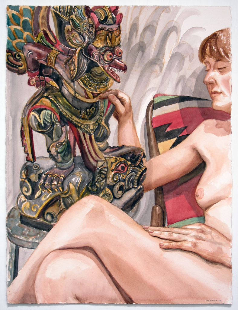 Model and Garuda Figure , 2012 Watercolor 30 x 22.75 in