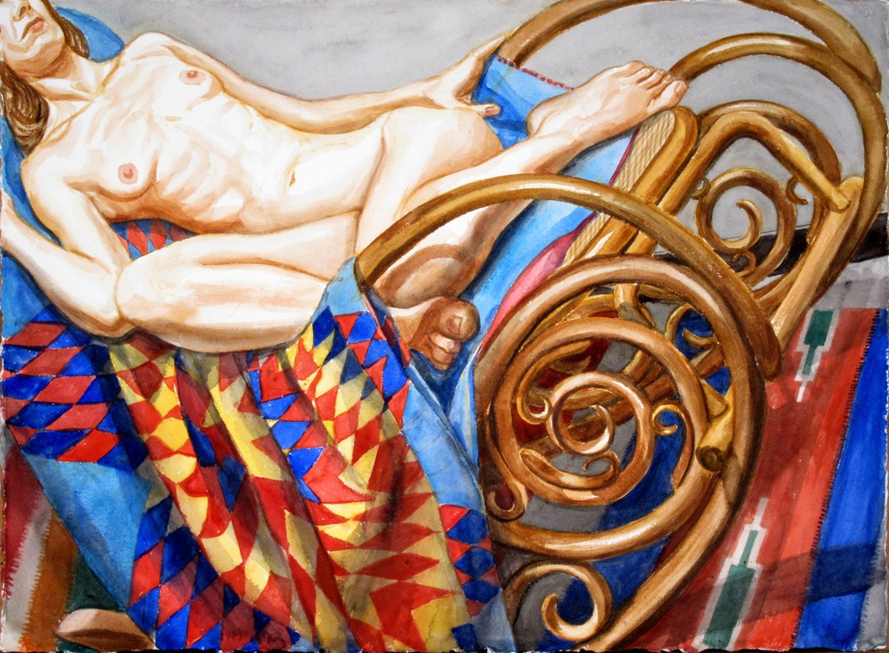 Model with Star Patterned Quilt on Rocker,  2011 Watercolor 22.5 x 30.25 in