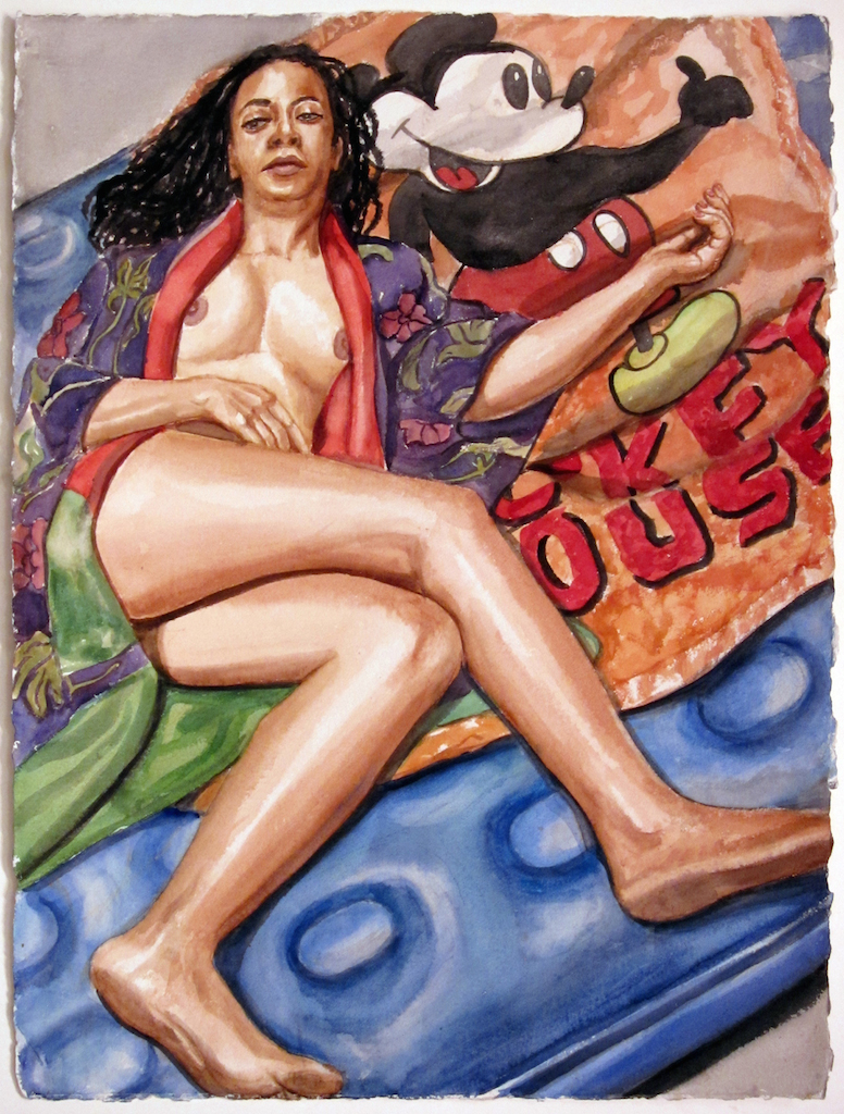 Model on Air Mattress with Mickey Mouse Blanket , 2012 Watercolor 30.25 x 22.75 in